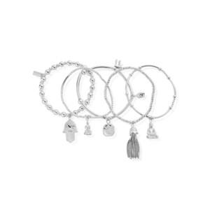 Stack Of 5 Karma Bracelets - Silver