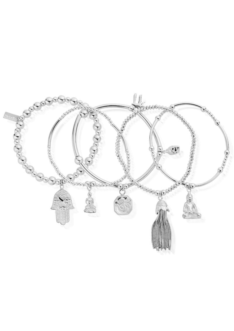 ChloBo Stack Of 5 Karma Bracelets - Silver main image