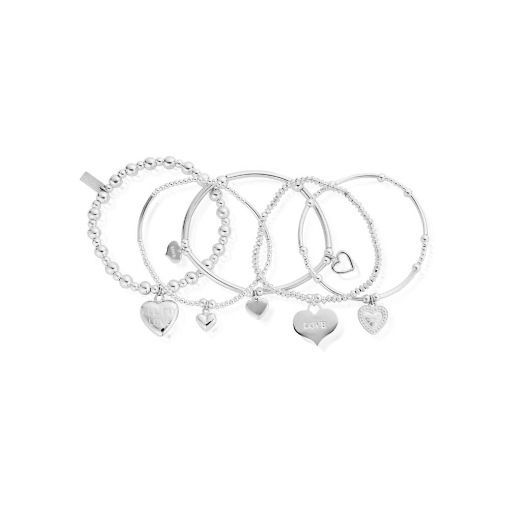 Stack of 5 Love Bracelets - Silver