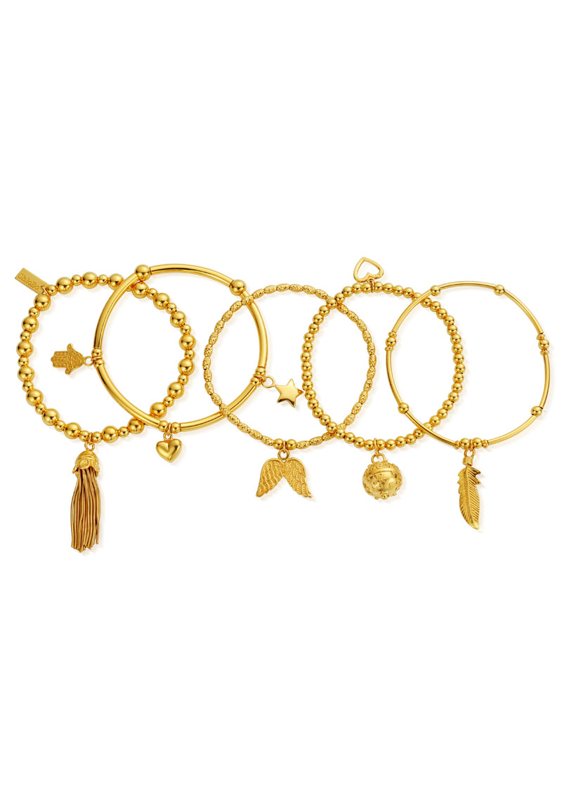ChloBo Stack Of 5 Freedom Bracelets - Gold main image