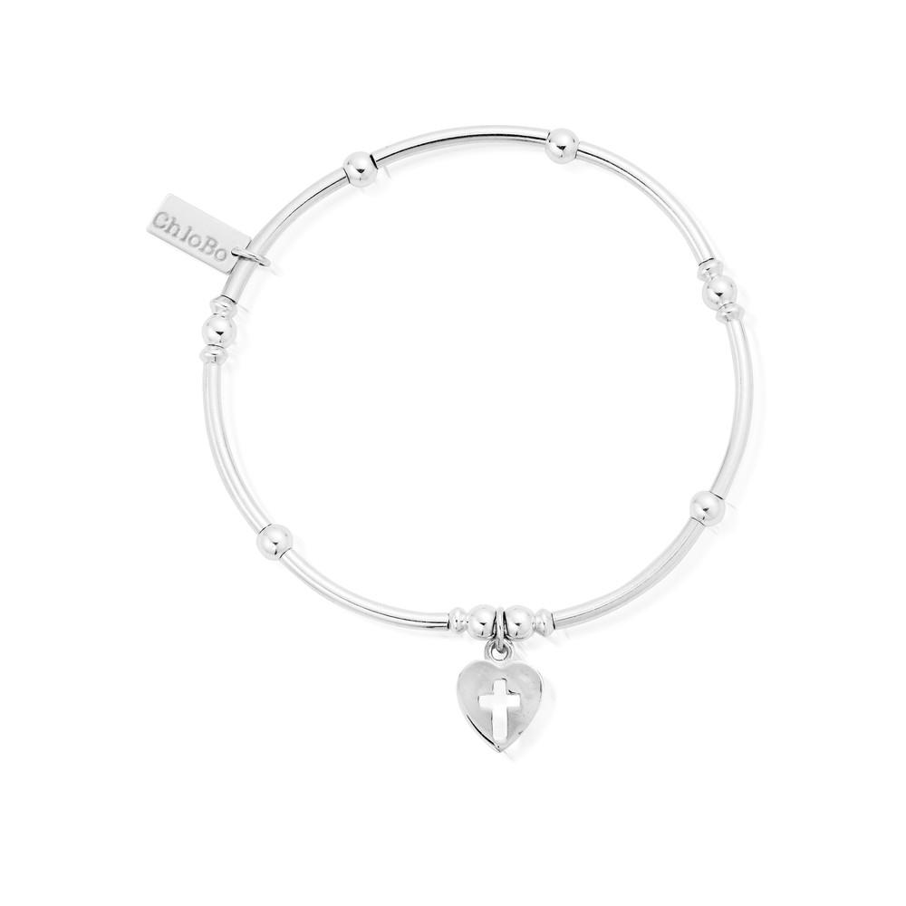 Mini Noodle Ball Bracelet With Cross Heart - Silver