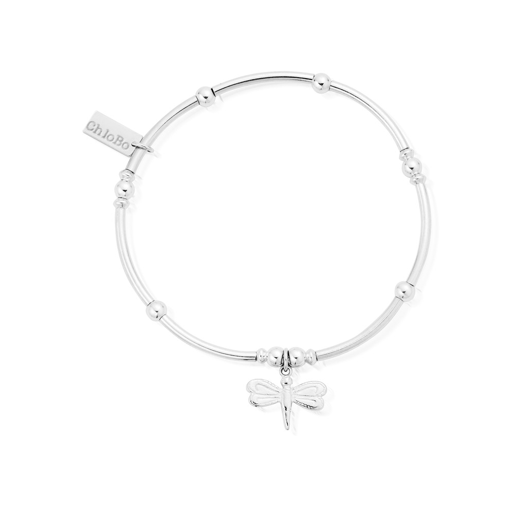 Mini Noodle Ball Bracelet With Dragonfly - Silver