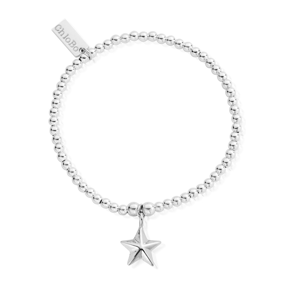 Cute Charm Bracelet With 3D Star Charm - Silver