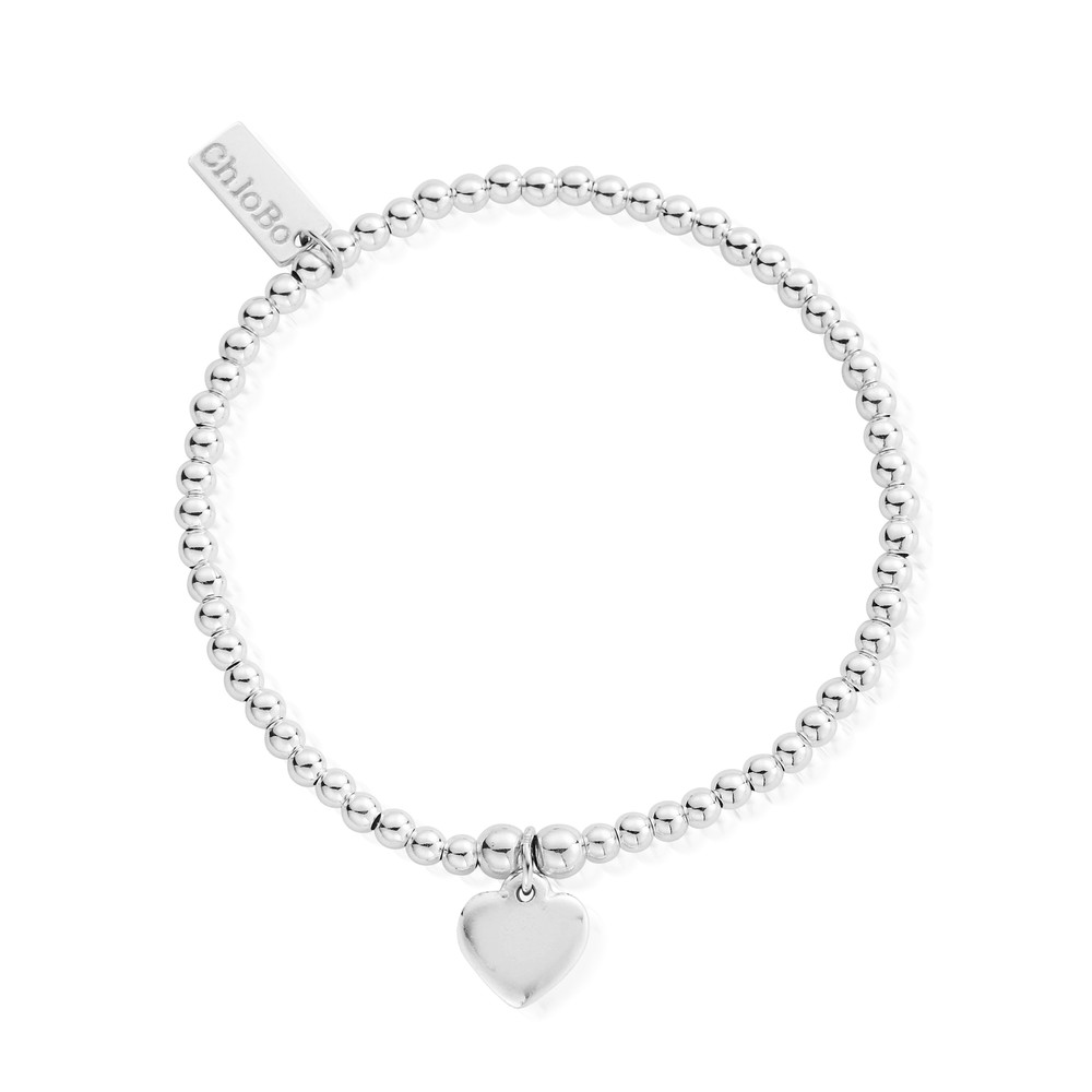 Cute Charm Bracelet With Heart - Silver
