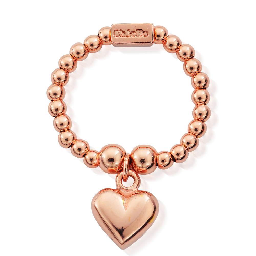 Mini Ball Ring with Puffed Heart - Rose Gold
