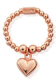 ChloBo Mini Ball Ring with Puffed Heart - Rose Gold