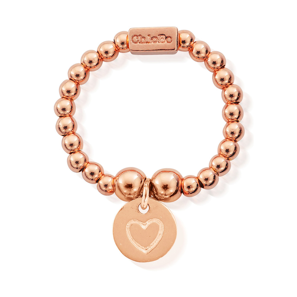 Mini Ball Ring with Heart in Circle - Rose Gold