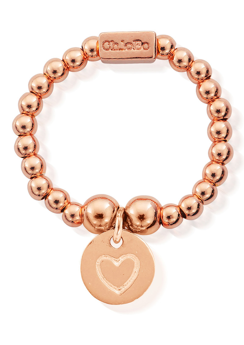 ChloBo Mini Ball Ring with Heart in Circle - Rose Gold main image