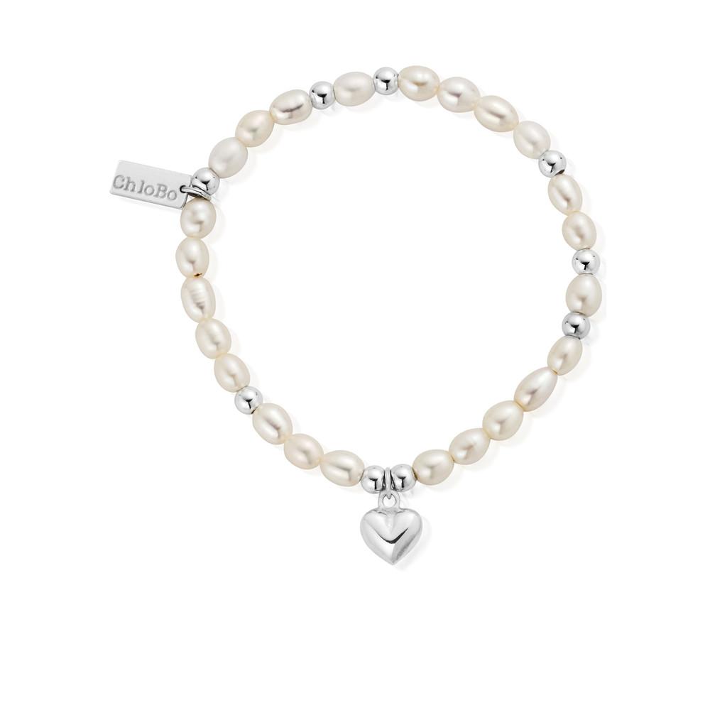 Mini Pearl Puffed Heart Bracelet - Pearl & Silver