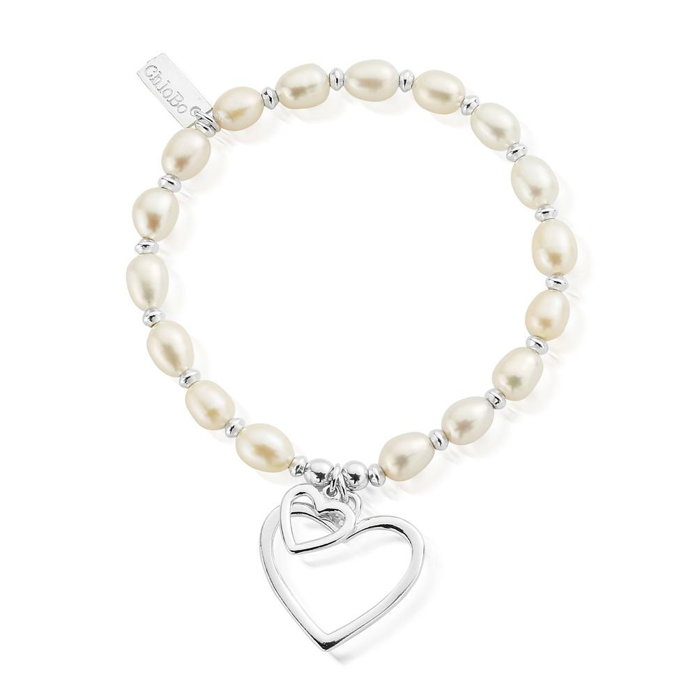 Pearl Disc Double Open Heart Bracelet - Pearl & Silver
