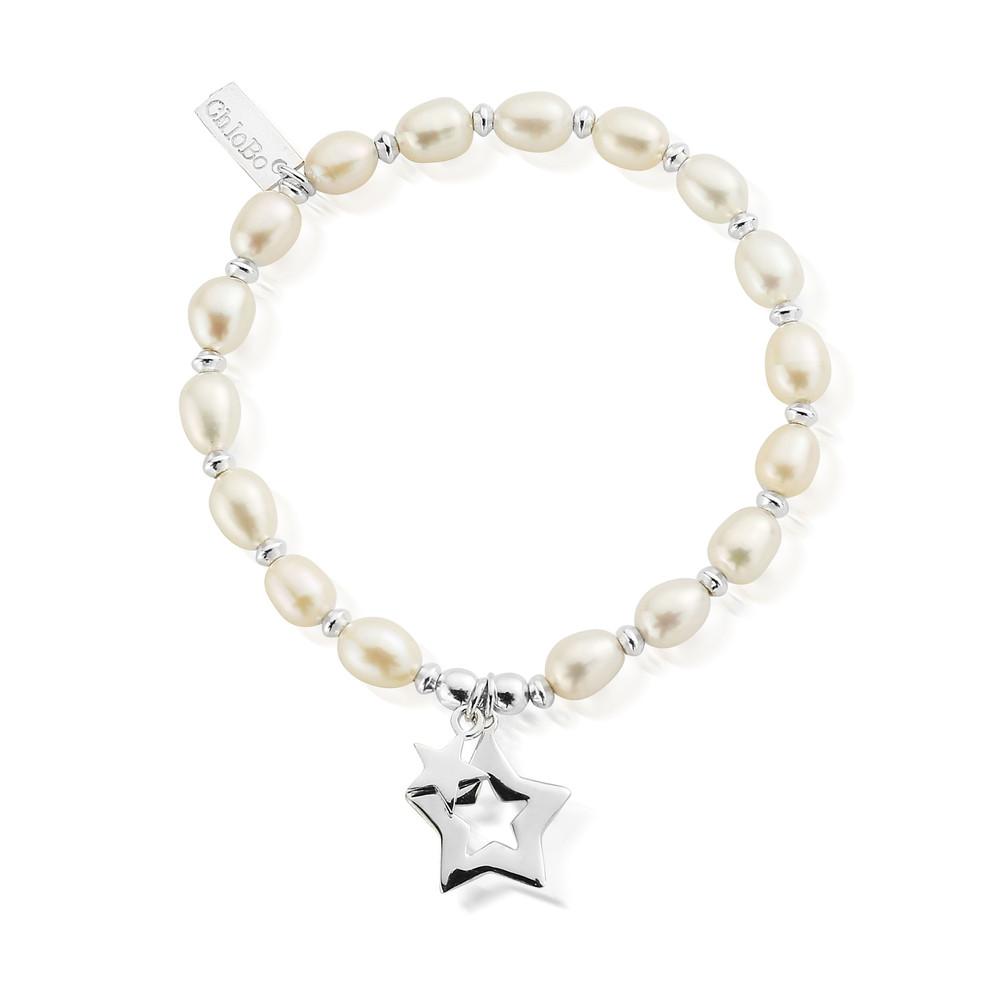 Pearl Disc Double Open Star Bracelet - Pearl & Silver