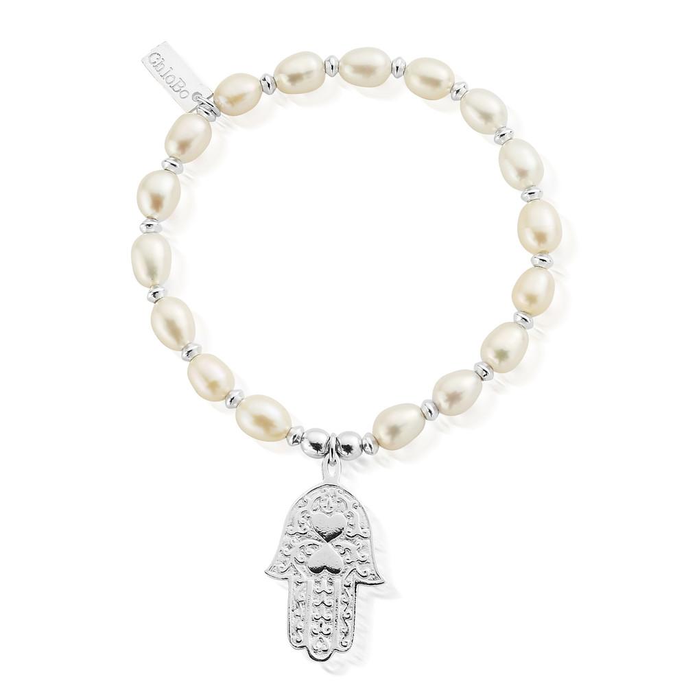 Pearl Disc Hamsa Hand Bracelet - Pearl & Silver