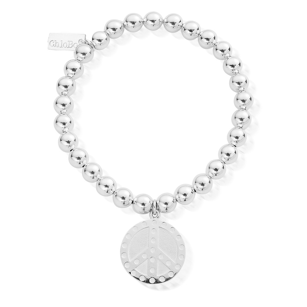Small Ball Dotty Peace Bracelet - Silver