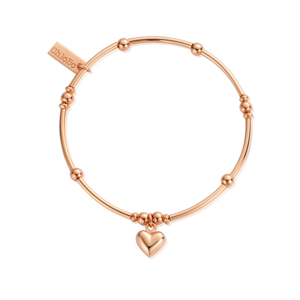 Mini Noodle Ball Puffed Heart Bracelet - Rose Gold
