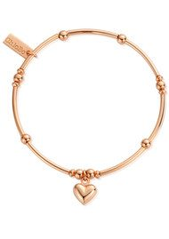 ChloBo Mini Noodle Ball Puffed Heart Bracelet - Rose Gold