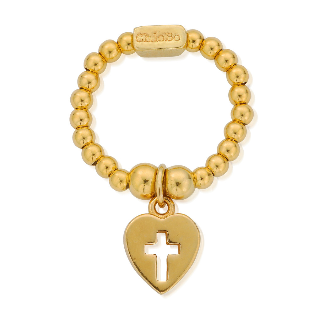 Mini Ball Cross in Heart Ring - Gold
