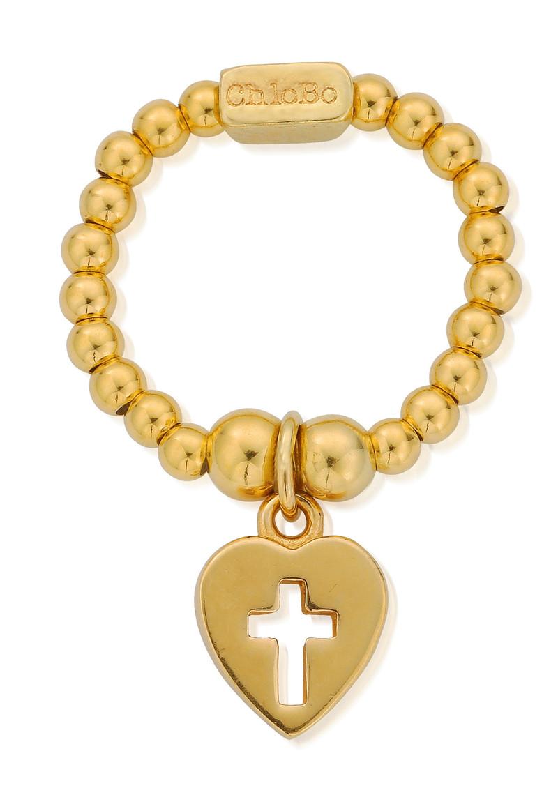 ChloBo Mini Ball Cross in Heart Ring - Gold main image