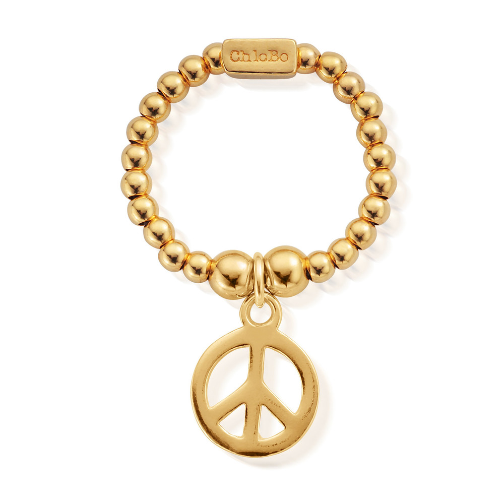 Mini Ball Peace Ring - Gold