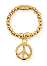 ChloBo Mini Ball Peace Ring - Gold