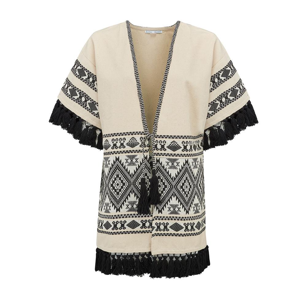 Patterned Fringe Kimono Jacket - Cream