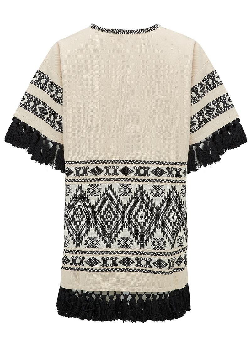 ALPHAMOMENT Patterned Fringe Kimono Jacket - Cream main image