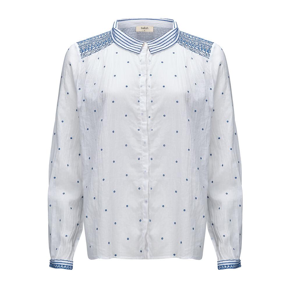 Marcus Cotton Shirt - White & Blue