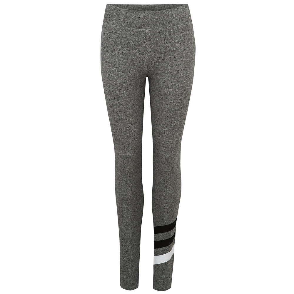 Striped Yoga Pants - Heather Grey