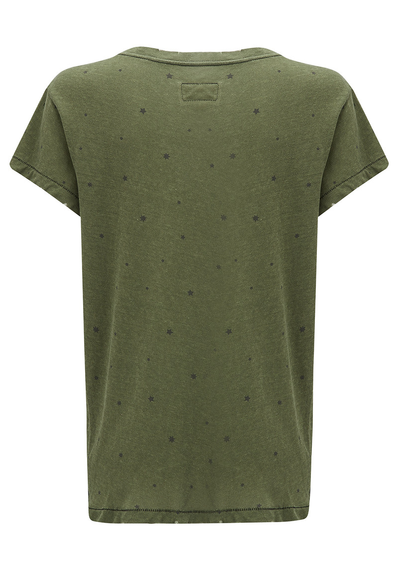 Current/Elliott The Crew Neck Tee - Army Green Falling Star main image