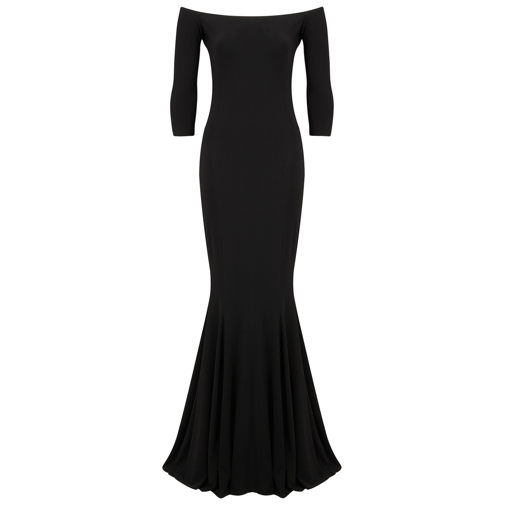 Off Shoulder Fishtail Gown - Black
