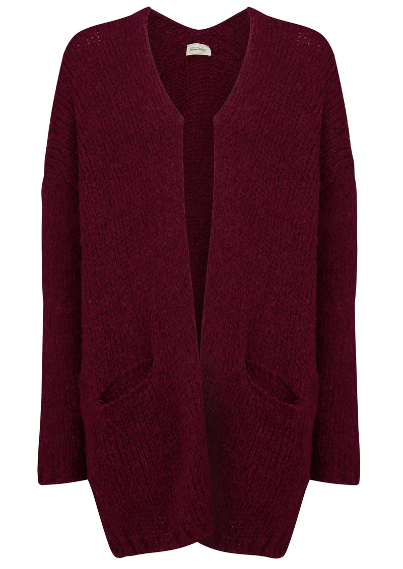American Vintage Boolder Knitted Long Cardigan - Plum main image