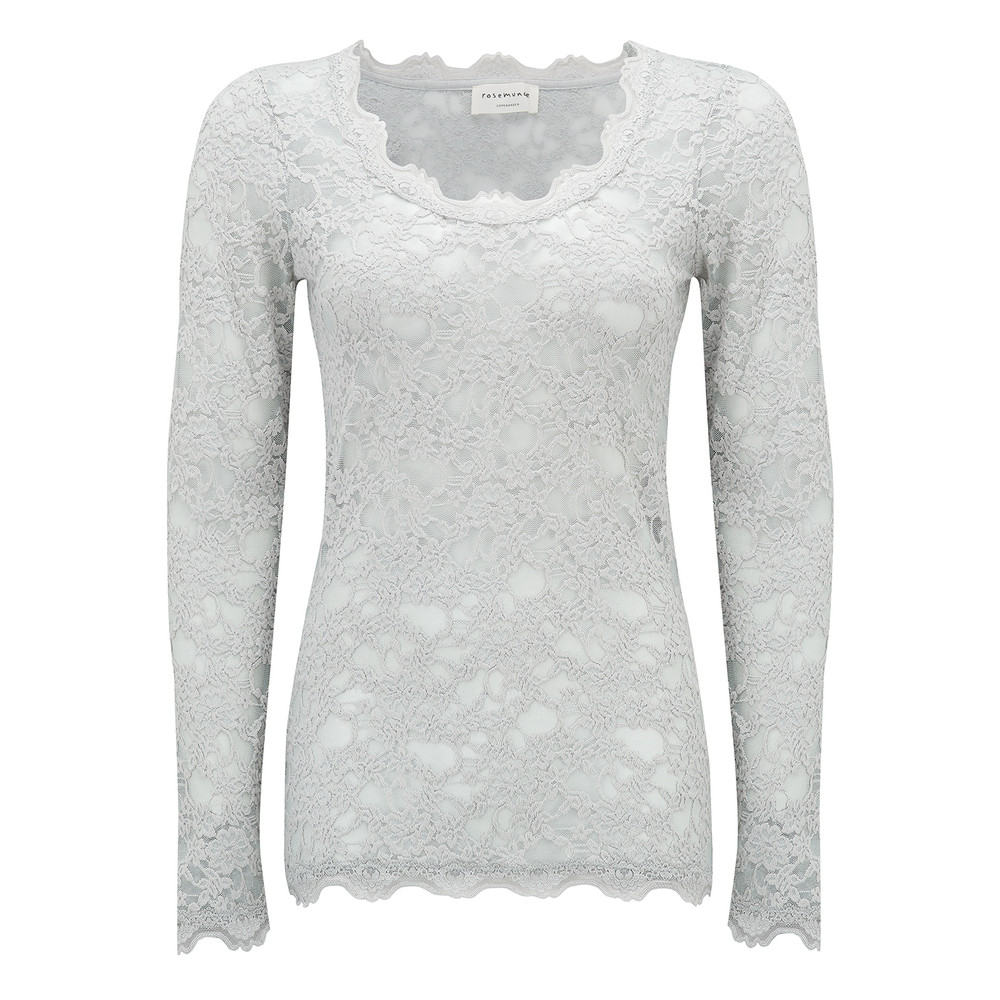 Long Sleeve Lace Top - Cement Grey