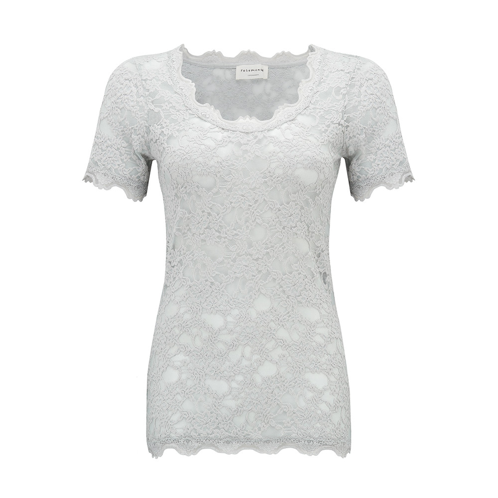 Short Sleeve Lace Top - Cement Grey