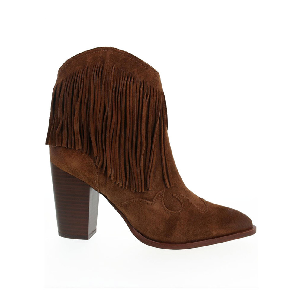 Benjie Fringed Suede Boots - Brown