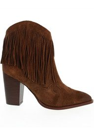 Sam Edelman Benjie Fringed Suede Boots - Brown