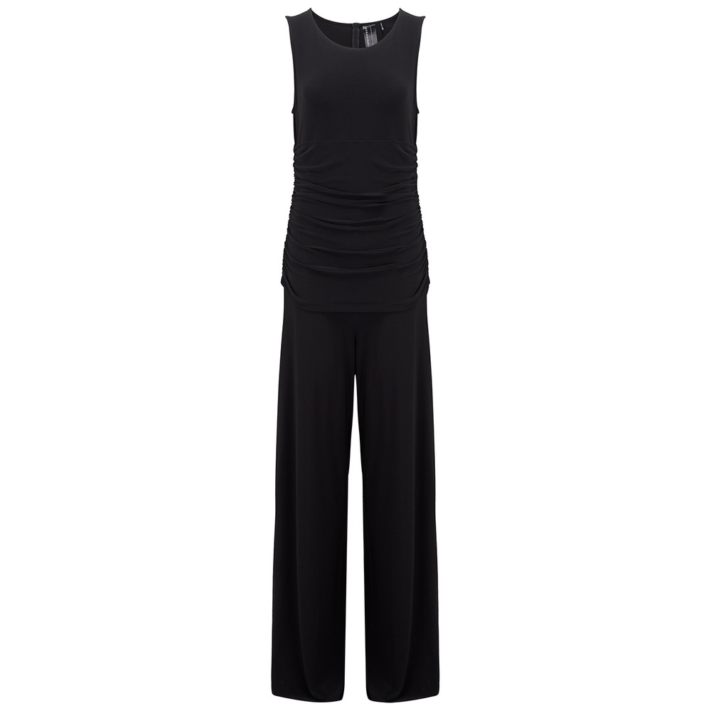 Sleeveless Shirred Jumpsuit - Black