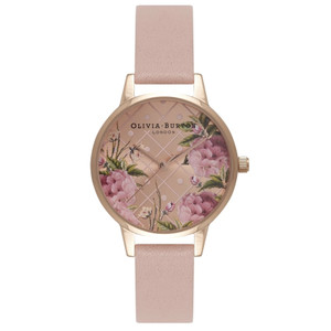 Dot Design Floral Watch - Dusty Pink & Rose Gold