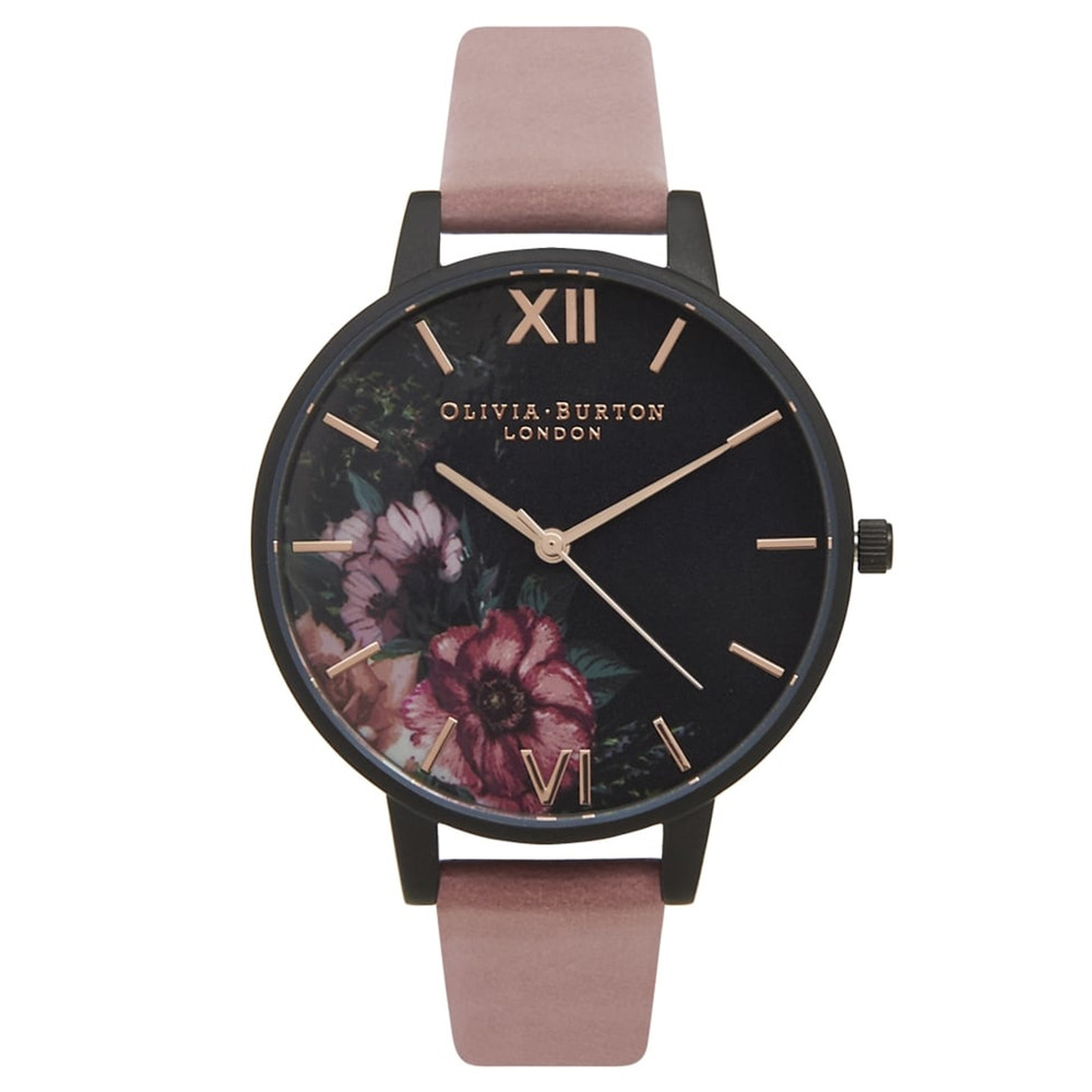 After Dark Black Dial Floral Watch - Rose & Rose Gold
