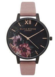 Olivia Burton After Dark Black Dial Floral Watch - Rose & Rose Gold