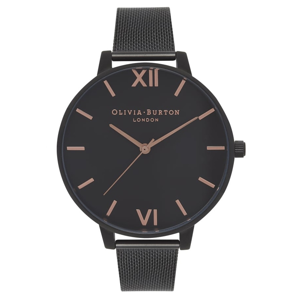 After Dark Black Dial Mesh Watch - Rose Gold