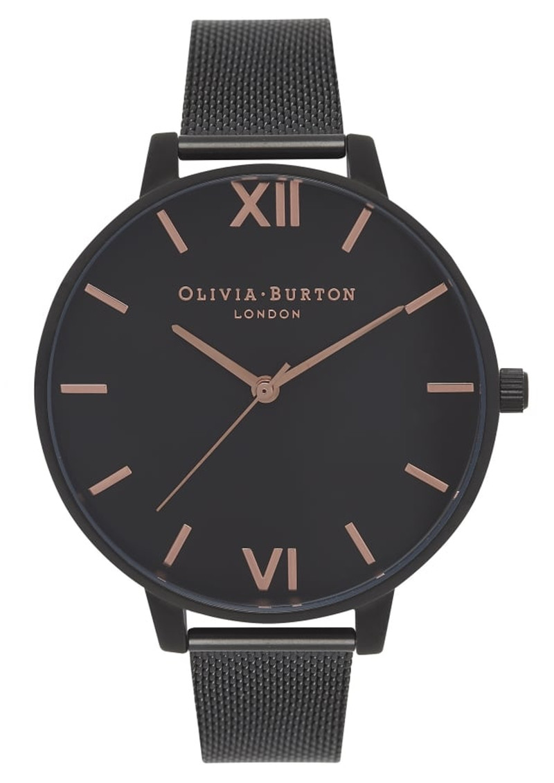 Olivia Burton After Dark Black Dial Mesh Watch - Rose Gold main image