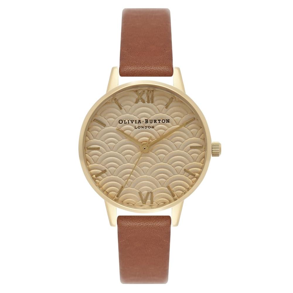 Scalloped Design Midi Dial Watch - Tan & Gold