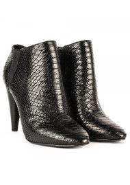 Ash Beverly Python Textured Ankle Boots - Black
