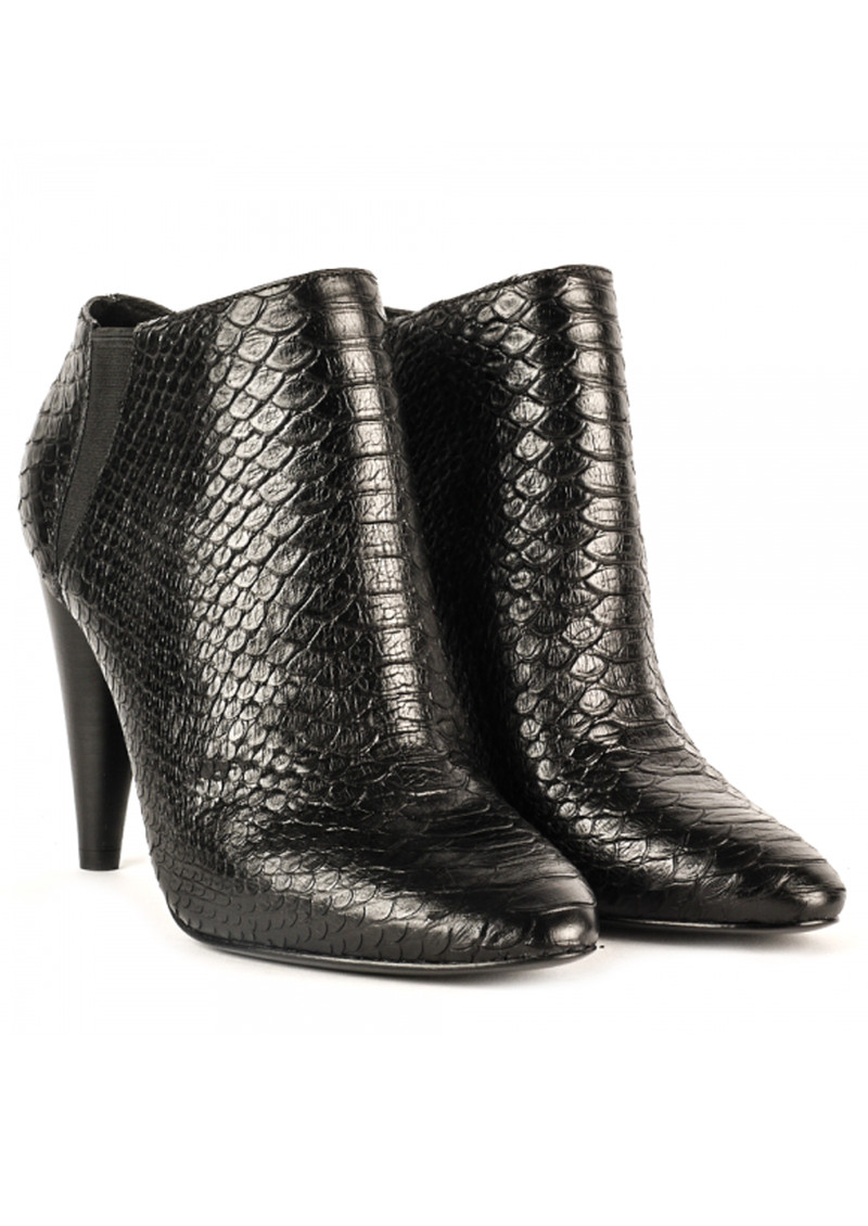 Ash Beverly Python Textured Ankle Boots - Black main image
