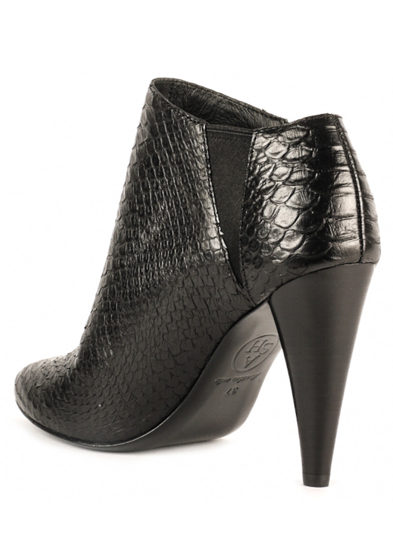 Beverly Python Textured Ankle Boots - Black main image