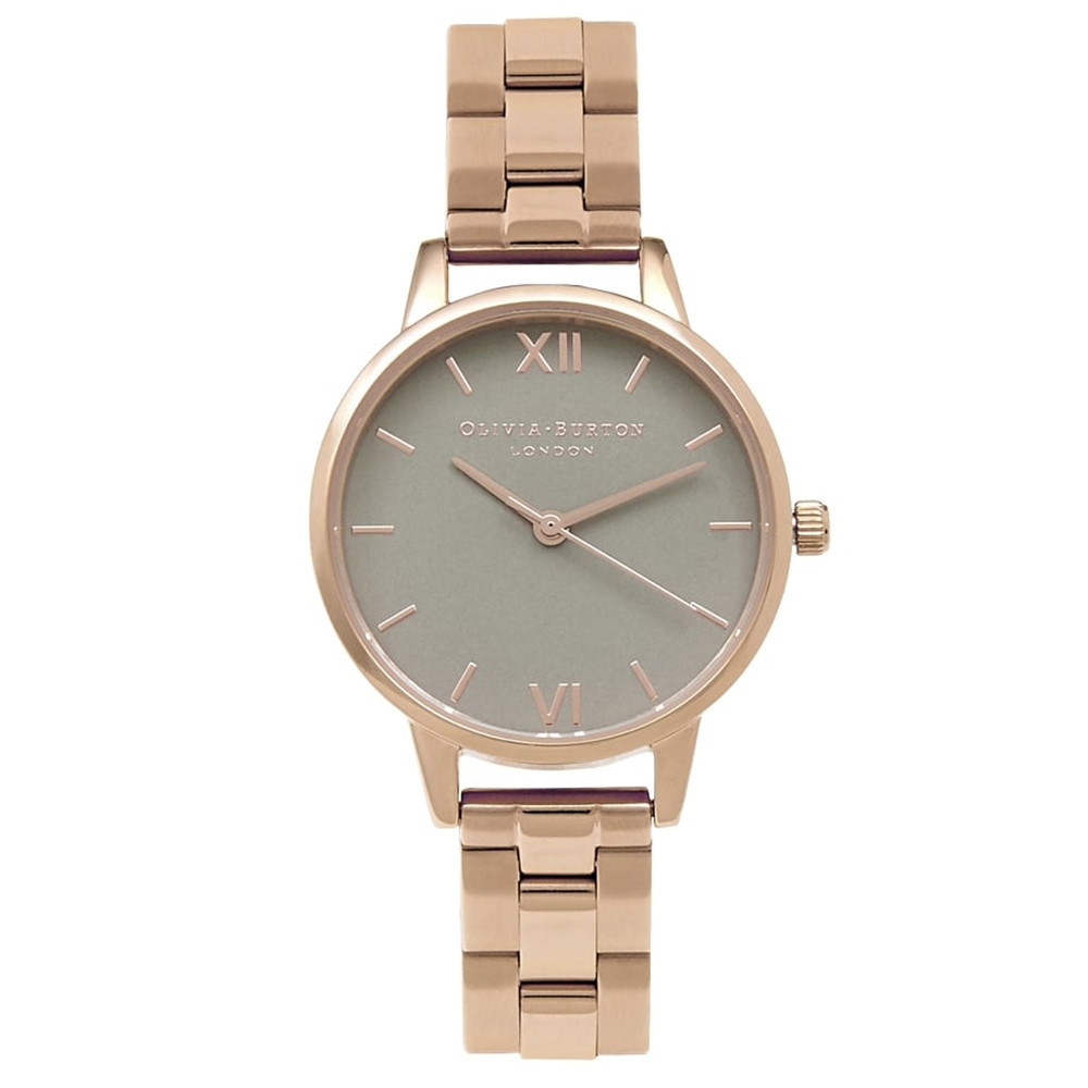 Midi Dial Grey Dial Bracelet Watch - Rose Gold