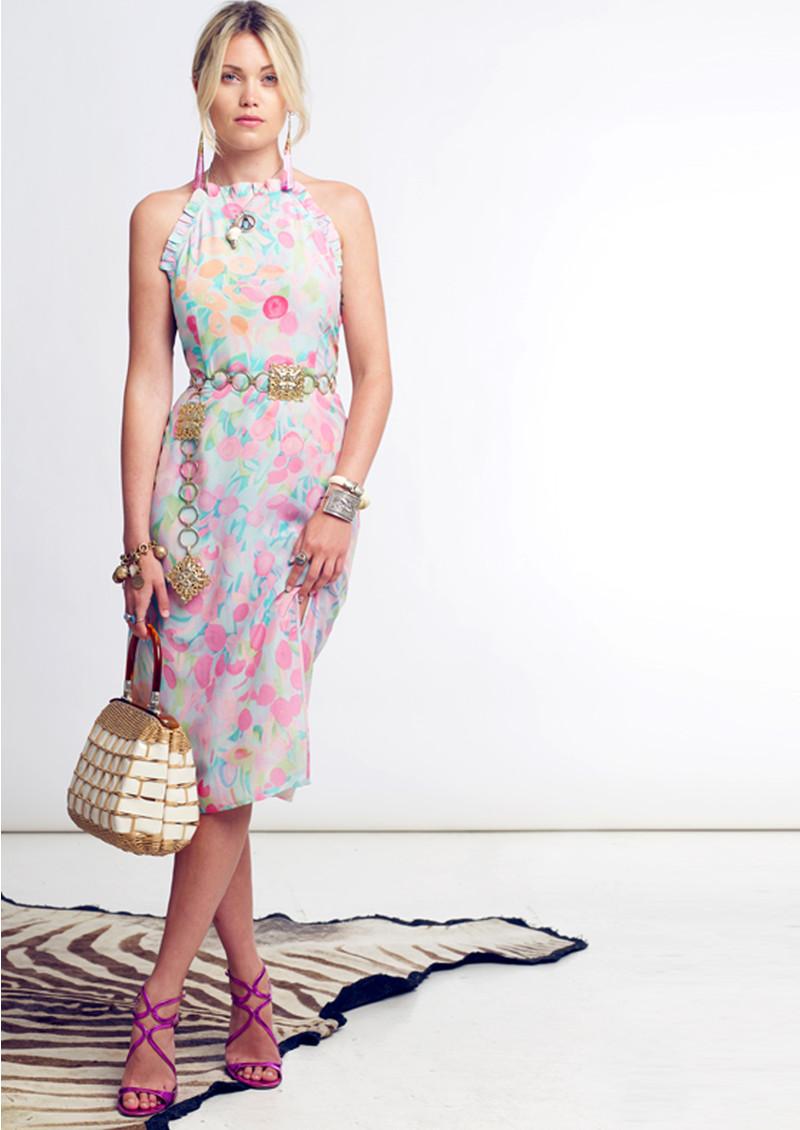 RIXO London Millie Ruffle Halter Neck Midi Dress - Neon Spot main image