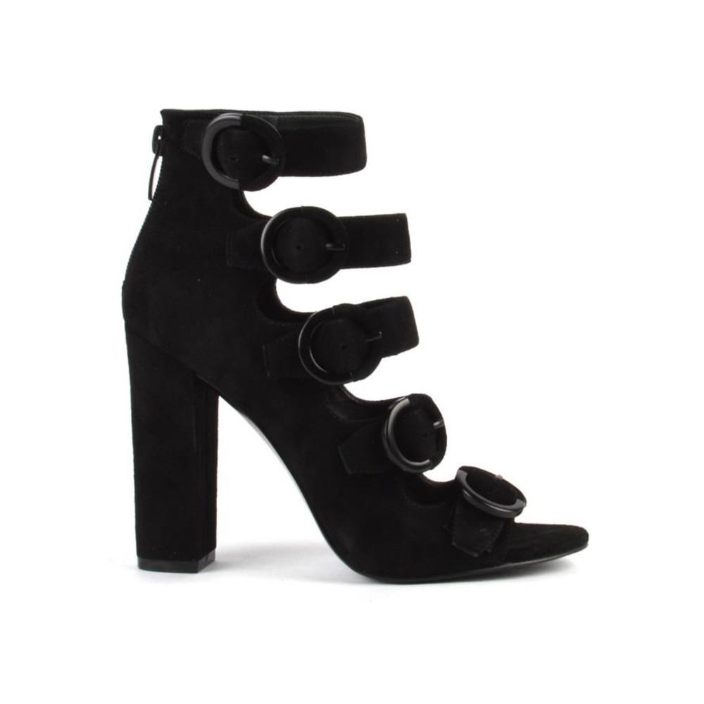 Evie Buckle Heel Boots - Black