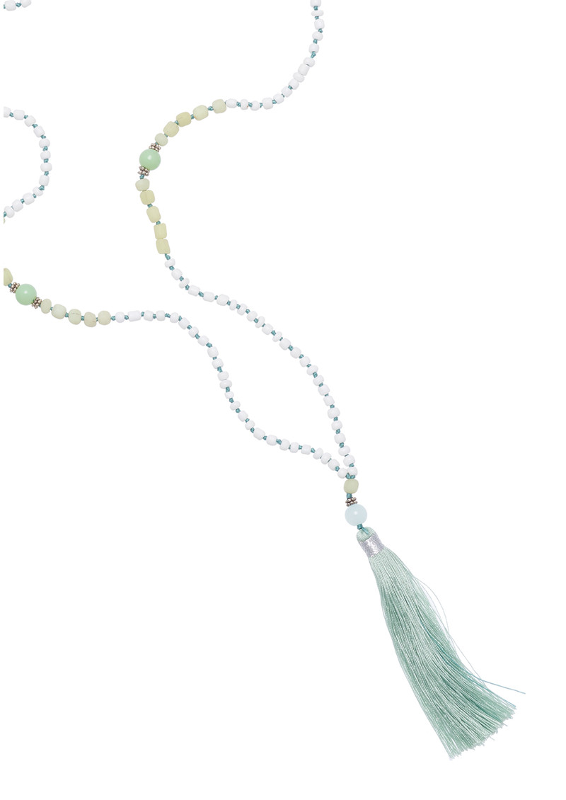 TRIBE + FABLE Single Tassel Necklace - Mint & White main image