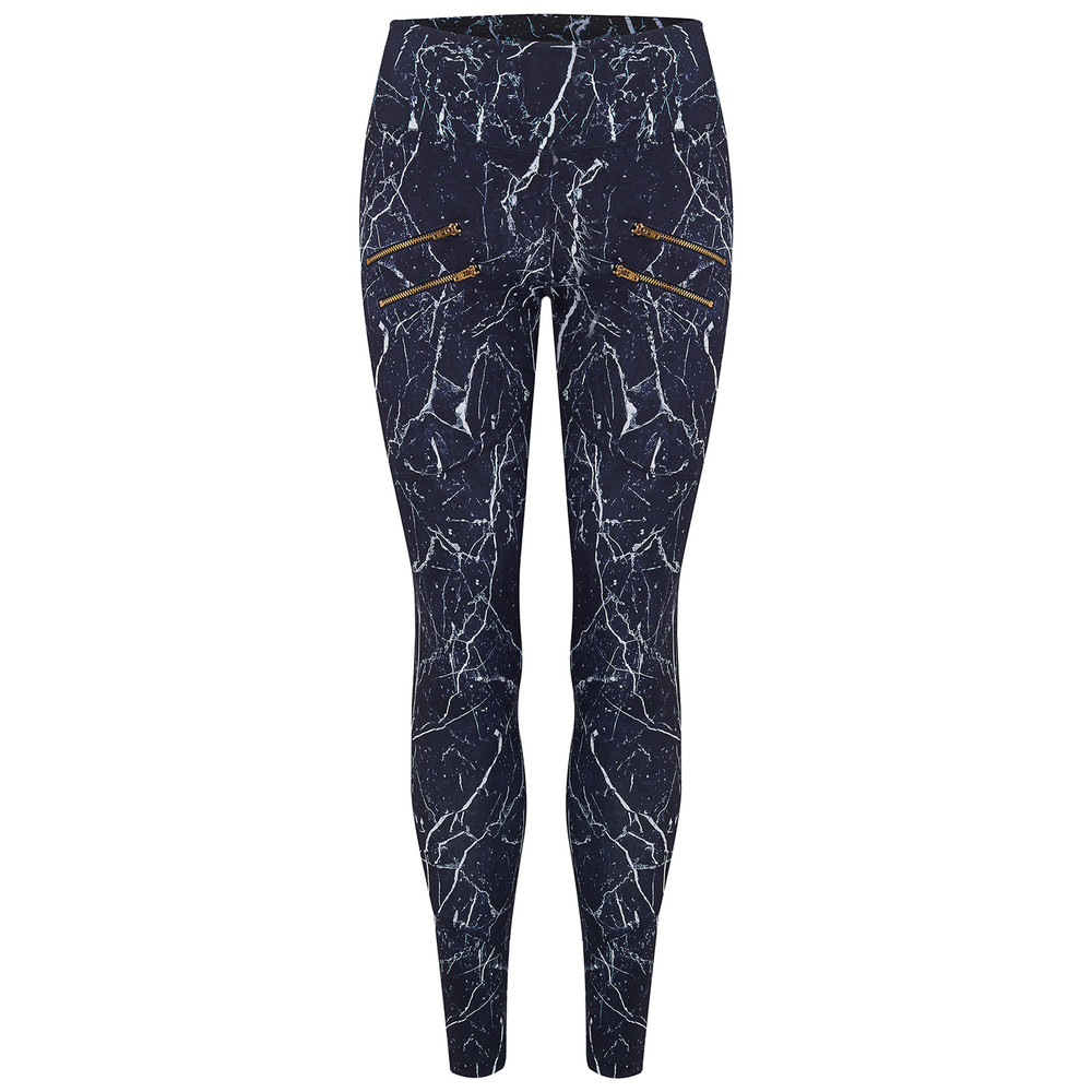 Palms Compression Tight Leggings - Navy Marble