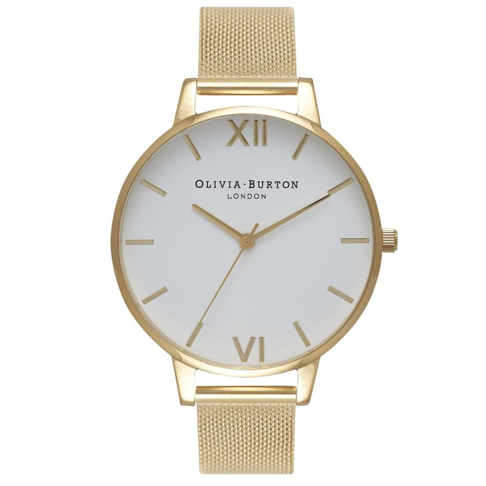 Big Dial Mesh Watch - Gold